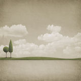 Two Trees. This poster was created and painted in Photoshop, used photo cloud, grass, texture, painted trees, background Royalty Free Stock Photography