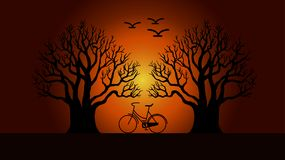 Two trees with a bike stock illustration