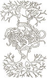 Two trees entwined roots. Hand-drawn  illustration. Two trees entwined roots. Hand drawn  illustration Stock Images