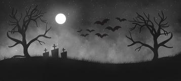 Spooky illustration for halloween invitation banner/ poster/flyer royalty free stock image