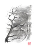 Two trees Japanese style original sumi-e ink painting. Stock Images