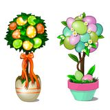 Two trees with leaves and colorful Easter eggs in stylized pots. Symbol and decoration for holiday. Vector illustration Stock Photos