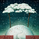 Two trees on  snowy hill. Beautiful winter background with trees on hill and red fence. Computer graphics Royalty Free Stock Photos