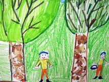 Two trees and two childrens painted on paper, Lithuania stock photo