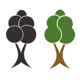 Two trees vector set - black silhouette tree - green tree Stock Image