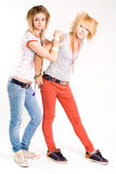 Two trendy girls royalty free stock images