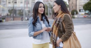 Two trendy young woman chatting in the street stock footage