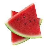 Two triangle pieces of watermelon isolated on white Royalty Free Stock Photography
