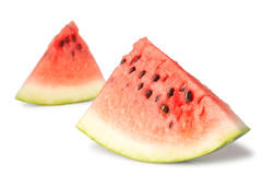 Two triangle slices of water melon Royalty Free Stock Photos