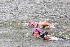 Two triathletes swim on start of the triathlon competition Stock Photo