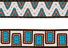 Two tribal borders, blue, orange and gray colors Stock Photography