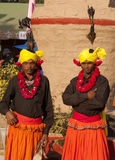 Two tribal folk atrtists. Folk artists in their traditional attire at the annual art and craft festival being held at kalagram panchkula, India The picture is Royalty Free Stock Photography