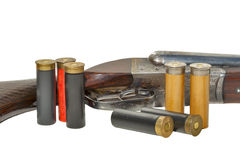 Two trigger old shotgun isolated with cartridges Royalty Free Stock Images