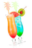 Two tropical alcohol cocktails Stock Image