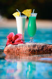 Two tropical cocktails Royalty Free Stock Images