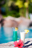 Two tropical cocktails Royalty Free Stock Photos