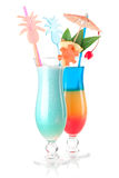 Two tropical cocktails with decoration Stock Photos