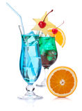 Two tropical cocktails and orange Stock Image