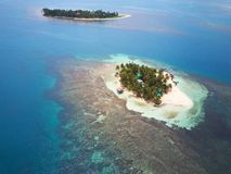 Two tropical islands. Aerial drone view on sunny day stock images