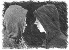 Two troubled teenage boys with black hoodie standing in front of each other in profile isolated on black background. Black and whi royalty free illustration