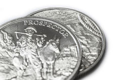 Two Troy Ounces of fine silver - .999 - coins closeup Stock Photo
