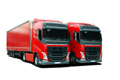 Two truck with semi trailers Royalty Free Stock Photos