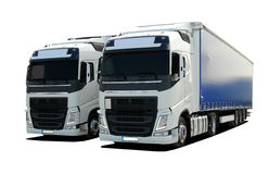 Two truck with semi trailers Stock Photos