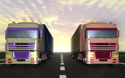Two trucks carrying cargo on the highway. Royalty Free Stock Photo