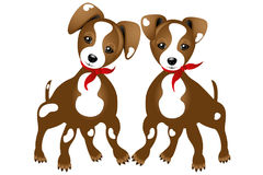 Two true friends. Illustration of two true friends - Jack Russell - isolated on white background without text Royalty Free Stock Images