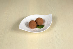 Two truffle sprinkled with cocoa on a white plate Royalty Free Stock Images