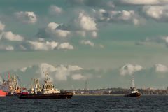 Two tug ships Stock Photos