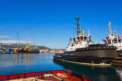 Two Tugboats and Containers Ship Royalty Free Stock Photography