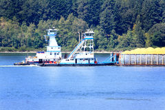 Two Tugs Pushing Barge royalty free stock images