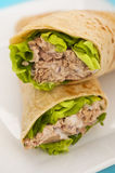 Two tuna melt wrap on a white plate Royalty Free Stock Image