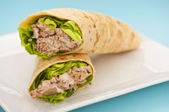 Two tuna melt wrap on a white plate Royalty Free Stock Photography