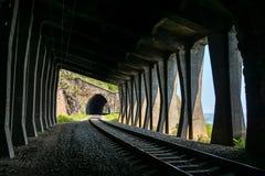 Two tunnels on Circum-Baikal Railway Stock Photo
