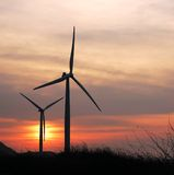 Two turbines a twilight Stock Photo