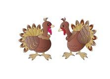 Two turkeys. On a white background Stock Photos