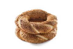 Two turkish bagel on isolated background Stock Photos