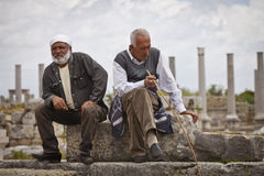 Two Turkish Men in the Ruins of Perga Royalty Free Stock Photo