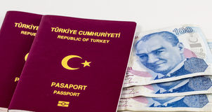 Two Turkish Passports and Banknotes Royalty Free Stock Photo