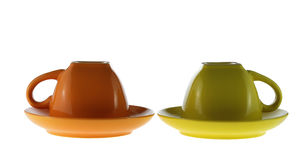 Two turned color cups Royalty Free Stock Photography