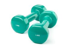 Two turquoise dumbbells Royalty Free Stock Images