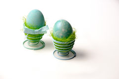 Two turquoise eggs. Easter decoration, two turquoise eggs Royalty Free Stock Photos