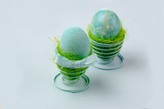 Two turquoise eggs. Easter decoration, two turquoise eggs Royalty Free Stock Photography