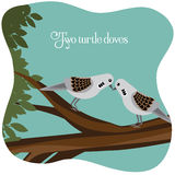 Two turtle doves on a branch. EPS 10 vector illustration royalty free illustration