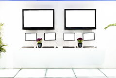 Two tv in exhibition room Stock Images