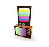 Two tv retro on a white background Royalty Free Stock Photo