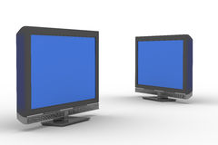Two TV on white background Stock Image