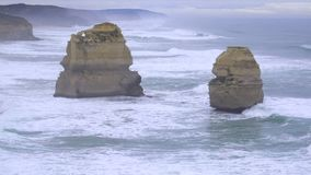 Two of the Twelve Apostles along Great Ocean Road. Australia stock video footage